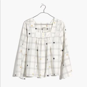Madewell Windowpane Square Neck Button Front Top L